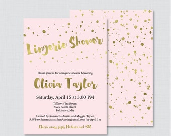 Pink and Gold Lingerie Shower Invitation Printable or Printed - Faux Gold Foil Lingerie Shower - Pink and Gold Bachelorette Party 0010-P