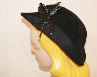 1940's Black Felt Slouch Hat with Feather Trim