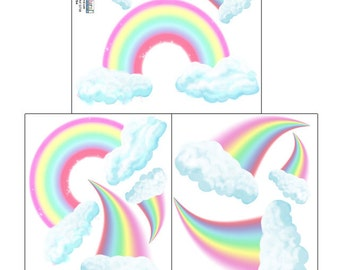 Girls Wall Decals, Rainbow Wall Stickers