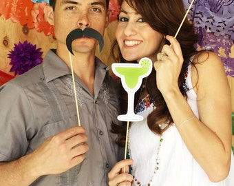 Cinco de Mayo Fiesta Printable PHOTO BOOTH PROPS Sombrero, Tequila, Margaritas - Editable Text >> Instant Download   Paper and Cake