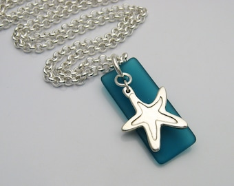 Starfish and Sea Glass Necklace, Handmade Silver Starfish, Blue Sea Glass, Sea Glass and Starfish, Sea Glass Jewelry, Long Necklace