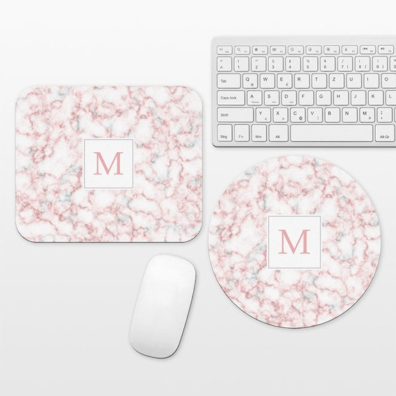 Marble Monogram Mouse Pad Custom Mousepad Personalized Letter Initial Mouse Mat Round Circle Rectangular Cute Gray Pink Mouse Pad Marble