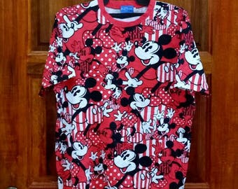 Rare!! MICKEY MOUSE T-shirt nice design full print over large size