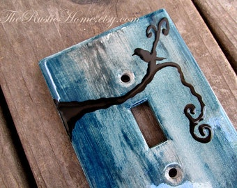 Black bird rustic light switch plate cover kiln fired pottery single double or triple switch made to order