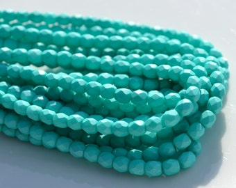 Saturated Teal 4mm Fire Polish Round Czech Glass Beads  50