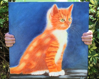 Cat Painting, Orange Tabby, Original Art, Oil on Canvas, No Frame Needed, Only One Available, ON SALE NOW!