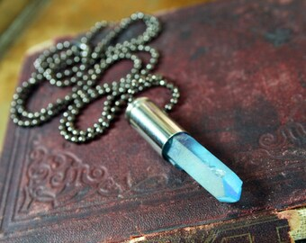 Mystic Blue Titanium Quartz Crystal Bullet Shell Necklace Electroplated Quartz Gunmetal Chain