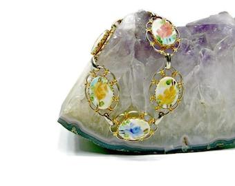 Enamel Link Bracelet, Vintage Floral Mid Century Hand Painted Jewelry
