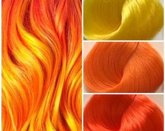 Nylon Doll Hair, Custom Color Blend, Fire Blend Tress, Rerooting