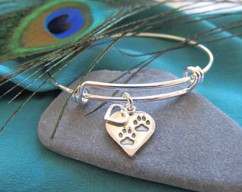 Silver Plated Bracelet Presenting  A Sterling Silver Heart with Paw Prints and Small Open Heart Charms - You Are Loved With An Open Heart