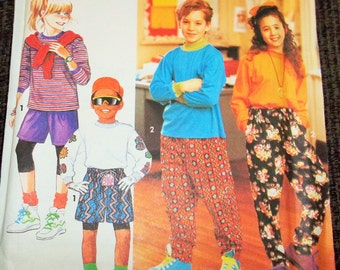 CLEARANCE!  Vintage 1991 Simplicity 7480 Sewing Pattern Boy's and Girl's Pants or Shorts and Knit Top, Size A Sm - Lg