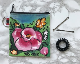 Pink Rose Handpainted Small Clutches