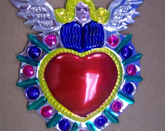 Large Colorful Painted Sacred Heart Milagro Ex Voto - Blonde Angel - Mexico