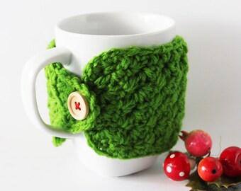 Christmas green coffee cup cozy, Crochet cup cozy, Green cup cozy, Crochet mug cozy, Stocking stuffer, Office gift, Tea cup cozy, Mug warmer