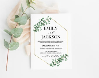 Eucalyptus Gold Geometric Wedding Invitation, Eucalyptus Wedding Invitation Printable, Wedding Invitation Template, Botanical Wedding Invite