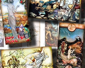 Fairy Tales Extravaganza (3) Digital Collage Sheet - Dominos 1x2 inch or bamboo size with Vintage Fantasy Illustrations - See Promo Offer