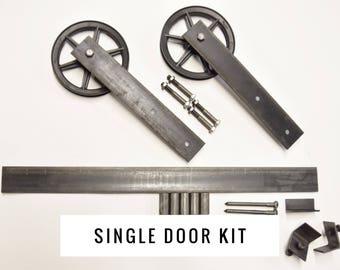 6in Flat Design wheel Rustic Sliding Barn Door Hardware Raw Steel Black Set Industrial. Vintage Single Door