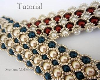 PDF tutorial beaded bracelet 8mm 6mm pearl- seed bead
