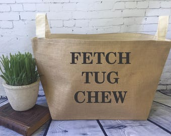 large  lined burlap dog toy basket / burlap storage tote/ fetch tug chew/ dog toy bin