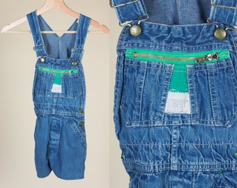 90s Toddler Overall Shorts // Vintage Liberty Denim Overall Shortalls - 2T