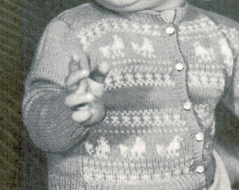 Toddler chicken trimmed cardigan knitting pattern PDF / Sizes 1, 2 and 3 / Baby knitted sweater with chicks