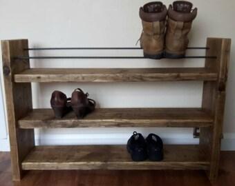 Shoe Rack - Rustic Decor - Reclaimed Wood - Wood Shoe Rack - Boot Rack - Shoe Storage - Porch Storage - Hallway Furniture - Rustic Wood