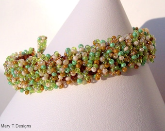 Sale - Narrow Embellished Beadwoven Bracelet...EBW Team...Green, Ivory, Tan, Brown