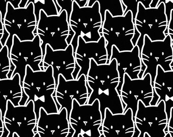 NEW! Cat Fabric Meow Cat Cluster in Black - Cotton Fabric by Camelot Fabrics, cat fabric, quilt fabric, black and white fabric