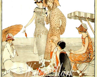 FLAPPERS at beach*1920 style* Gorgeous, ONE  5 x7 fabric block