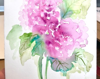 """7x10"""" floral watercolour hydrangea painting"""