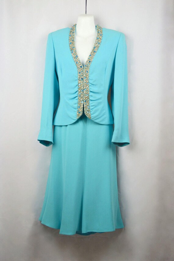 line suit Escada wedding A troppobella Jeweled vintage Suit designer suit skirt blue silk 1980's rare suit turquoise 38 XwpzqwBS
