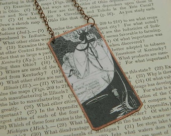 Art necklace Beardsley necklace  Aubrey Beardsley jewelry mixed media jewelry