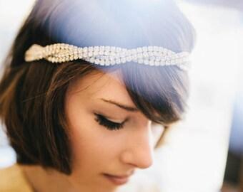Josephine Headpiece - Swarovski braided headband - stunning bridal headdress- bohemian crystal tiara - art deco wedding hair accessory 1920s