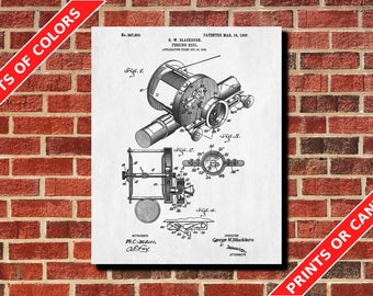 Fishing Reel Patent Print Angling Poster Fishing Blueprint Man Cave Poster