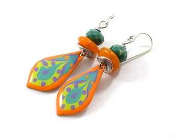 Orange and Turquoise Handmade Teardrop Earrings, Turquoise and Orange Earrings,  Boho Earrings, Silver Earrings,Artisan,Paint and Resin,E034
