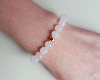 Rose Quartz & Gold Bracelet / Minimalist Stacking Bracelet / Gold Plated Bead / Pink Quartz Jewelry / Love Gemstone / Taurus Birtstone Boho