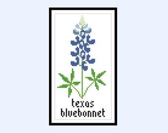 Cross Stitch Pattern Texas Bluebonnet Wildflower PDF Instant Download
