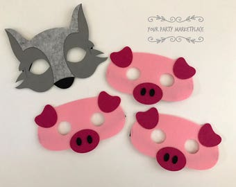 SET OF 4 Three Little Pigs and Big Bad Wolf Masks, 3 Little Pigs and Big Bad Wolf Dress Up, Wolf Mask, Pig Mask