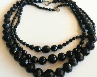 French jet black glass necklace lot