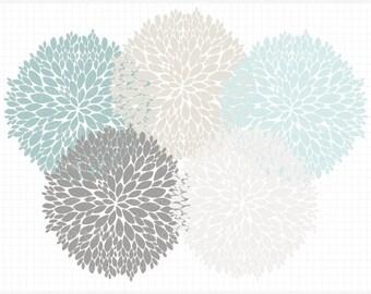 Clipart - Dahlia Flowers (Blue) Silhouette - Digital Clip Art (Instant Download)
