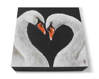 White Swan painting - monochrome black and white swan art - realistic bird painting - swan lake