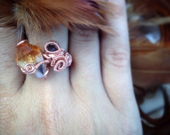 SALE TODAY ONLY Citrine Wire Wrap Ring Ruby Ring Copper Wrapped Ring