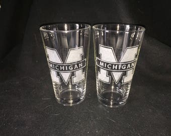 University of Michigan Hand Etched Pint Glasses!