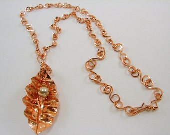 Hand Forged Copper Leaf with Pearl and handmade chain Necklace Pendant