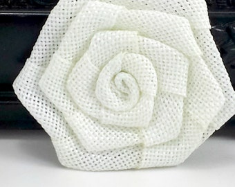 White burlap rose flower - Burlap fabric flowers - wholesale rosette flowers -  rustic flowers for wedding, scrapbooking and hair clips