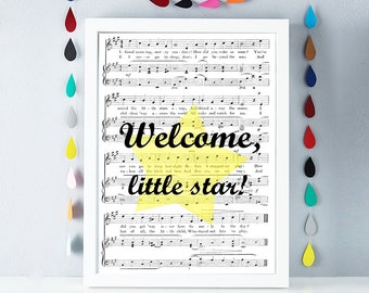 Welcome 12x16 nursery decor Gender neutral nursery wall art print Printable Instant Download music sheet art New Baby Gift for new born