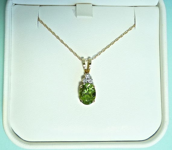 PERIDOT DIAMOND NECKLACE ~ 14K Gold Pendant Necklace ~ Oval Cut Peridot Topped With Three White Diamonds ~ 18 Inch 14K Gold Chain ~