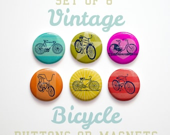 Gifts for Him, Bike Gifts, Bicycle Gift for Cyclist, 6 Vintage Bicycle Buttons or Fridge Magnets, Bicycle Magnets Bicycle Pinbacks