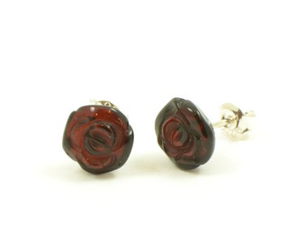 Amber Cherry Red Sterling Silver Small Square Stud Earrings mickq