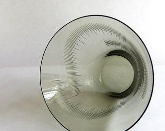 Vintage Mid Century Kaj Franck Smoke Aurora Borealis Vase - Studio Glass, Etched Wheel Cut, Nuutajarvi Notsjo, Finland Scandinavian Modern